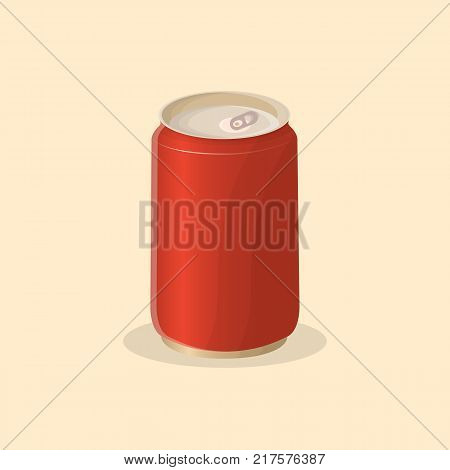 Soda in a tin can - - cute cartoon colored picture. Vector illustration of fast food