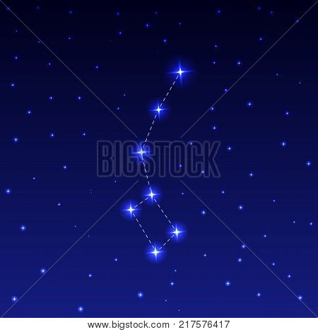 Constellation Ursa Minor in the night starry sky. Vector illustration of the concept of astronomy