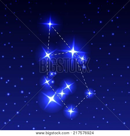 The Constellation Auriga in the night starry sky. Vector illustration of the concept of astronomy