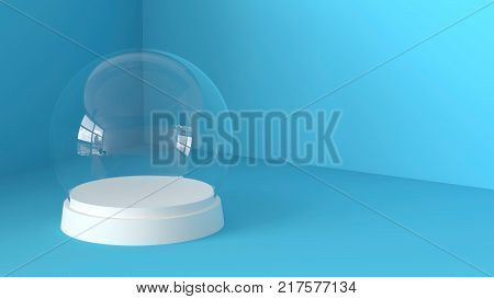 Empty snow glass ball with white tray on blue background. 3D rendering.