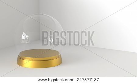 Empty snow glass ball with golden tray on white background. 3D rendering.