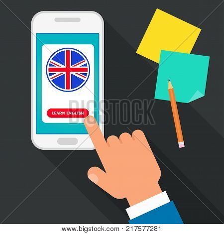 Bright flat vector banners with mobile app for English language learning. Courses of foreign language, schools for studying British pronunciation. Information for site, social network, poster.