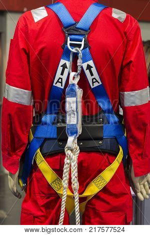 the Industrial safety harness ; in an exhibition