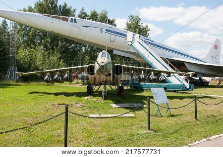 RUSSIA MOSCOW REGION MONINO - August 09 2017: Museum of the air force. the Su-25 in the background of the civil Tu-144