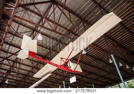 RUSSIA MOSCOW REGION MONINO - August 09 2017: Museum of the air force. glider sailplane airframe