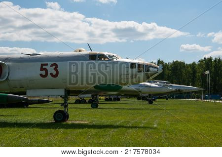 RUSSIA MOSCOW REGION MONINO - August 09 2017: Museum of the air force. the number of Soviet military aircraft