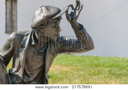 RUSSIA VLADIMIR - August 13 2017: The bronze monument to idler close-up. George street.