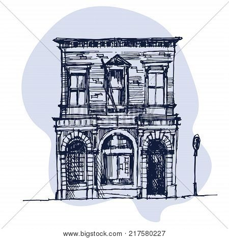 Old English mansion in a village with a sign. Vector illustration