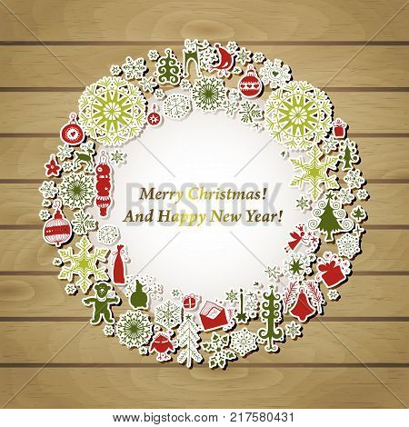 Christmas wreath label with vintage paper Xmas icon and holiday elements set, wooden background. Symbol winter, Merry holiday, Happy New Year celebration.
