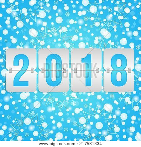 2018 Happy New Year scoreboard vector illustration. Winter holiday snow pattern for celebration. Blue white decorative Christmas background with snowflakes sparkles lights and flip symbol