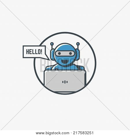 Retro robot with laptop smiling and say hello. Circle logo or icon with happy bot with antennas. Chat or online communication with chatbot. Artificial intelligence concept. Modern line vector.