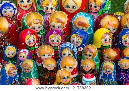 Many Russian matreshkas. The Russian national doll is a souvenir of nesting dolls