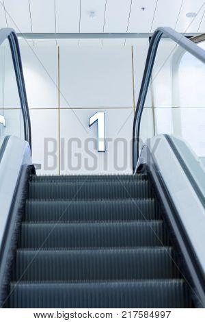 Empty Escalator In Modern Building as a background