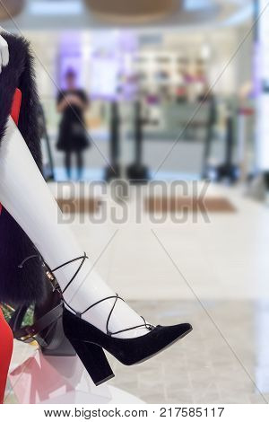 dummy foot in a shoe blurred abstract Store