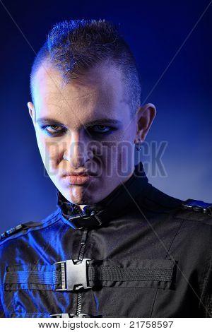 Shot of a gloomy skinhead man.