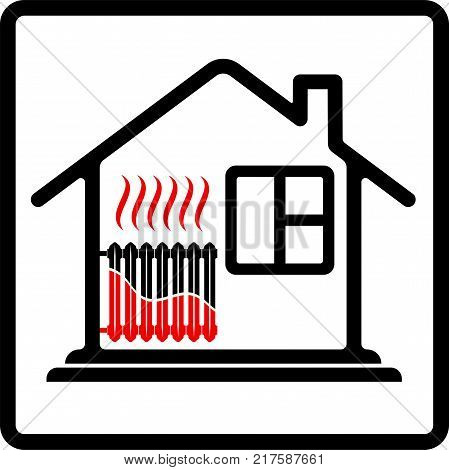 Logo house with radiator heating. Saving resources. High efficiency. High cost of heat. Black and red.