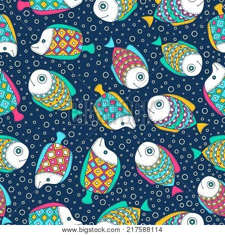 Cute doodle fish. Vector seamless pattern with hand drawn sea dweller. Doodle fish and bubbles on dark navy background.
