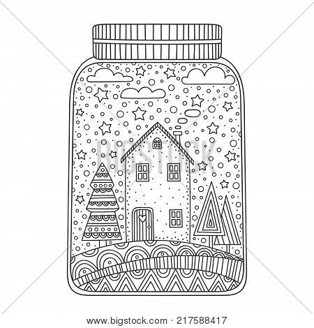 Christmas jar. Vector hand drawn jar with doodle winter elements. Winter objects - house snowflakes stars tree clouds. Anti stress coloring page for children and adults.