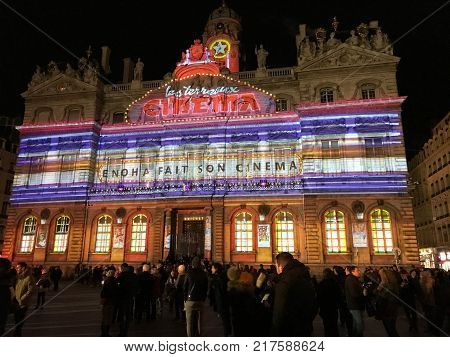 Celestins Theatre View During Festival Of Lights In Lyon France