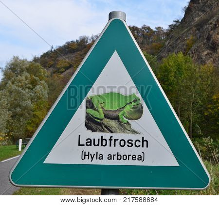 road sign highlights the presence of green tree frog (hyla arborea) Wachau region Austria