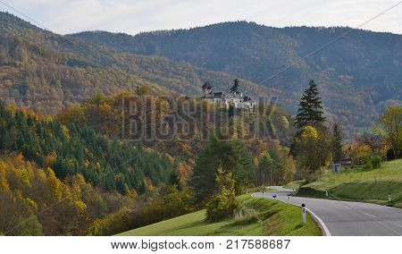 view of autumn landscape region Wachau state Austria