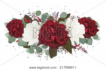 Vector floral bouquet design: garden red burgundy Rose flower white peony seeded Eucalyptus branch amaranthus & silver green fern leaves Watercolor designer element. Wedding invite card greeting