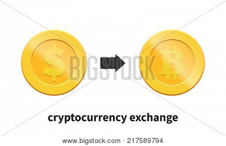Cryptocurrency exchange concept. Exchange from Dollar to Bitcoin.