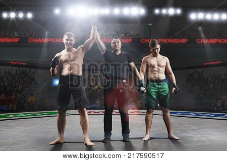 referee is declairing the winner after the mma fight in big mma arena
