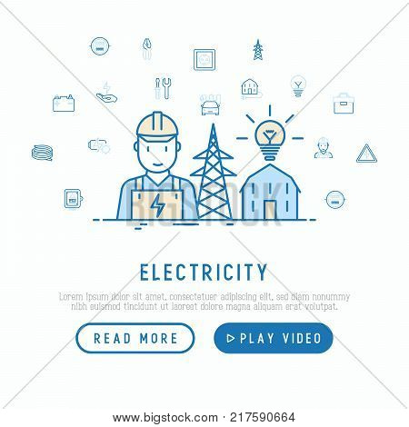 Electricity concept with thin line icons: electrician, bulb, pylon, toolbox, cable, electric car, hand, solar battery. Vector illustration, web page template.