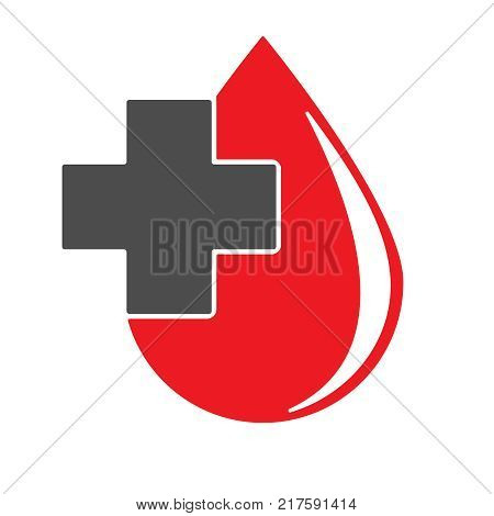 Donate drop blood with cross logo. Donor concept blood icon. Red vector blood drop vector design element in trendy flat style.
