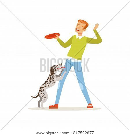 Cheerful red-haired man playing with his dog. Guy having fun with pet outdoors. Cartoon male character in green sweater and blue jeans. Domestic animal. Isolated flat vector illustration.