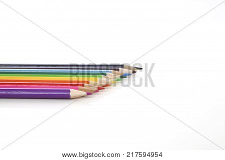 colorful pencils on white background studio table