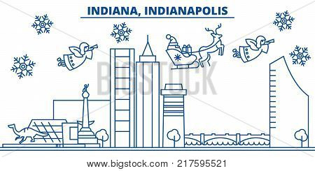 USA, Indiana , Indianapolis  winter city skyline. Merry Christmas and Happy New Year decorated banner. Winter greeting card with snow and Santa Claus. Flat, line vector, linear christmas illustration
