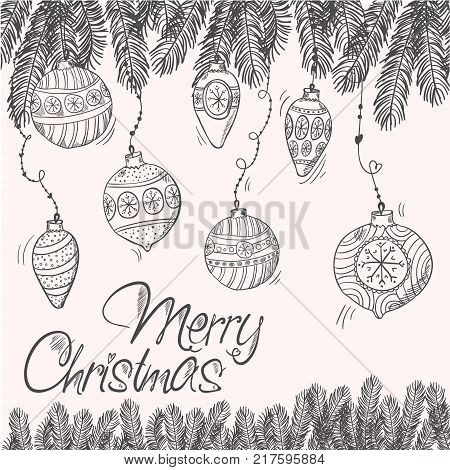 Merry cristmas card with fir branches and decorations eps8
