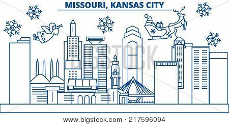 USA, Missouri , Kansas City  winter city skyline. Merry Christmas and Happy New Year decorated banner. Winter greeting card with snow and Santa Claus. Flat, line vector, linear christmas illustration