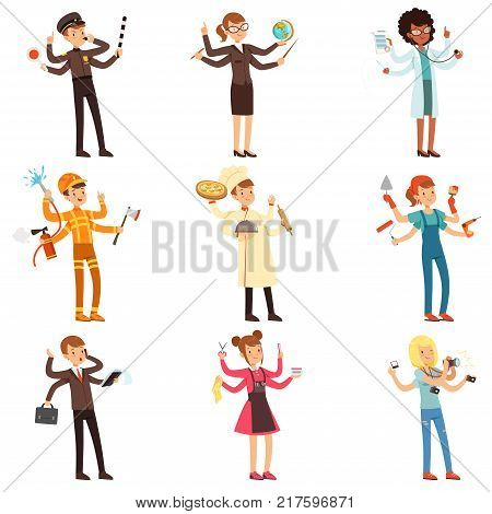 Cartoon multitasking people characters set. Men and women with many hands. Road policeman, teacher, doctor, fireman, chef, painter, businessman, hair stylist, photographer Flat vector illustration