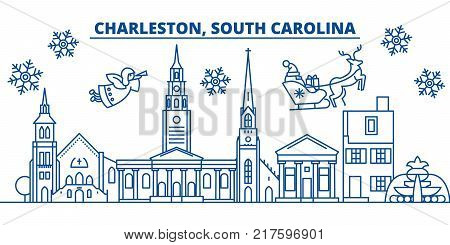 USA, South Carolina, Charleston  winter city skyline. Merry Christmas and Happy New Year decorated banner. Winter greeting card with snow and Santa Claus. Flat, line vector, linear christmas illustration