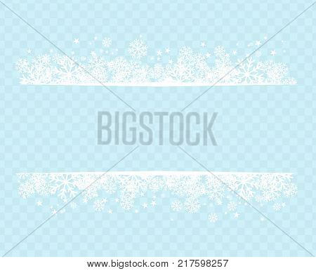Winter snowflakes blue background for holiday text on postcard or letter vector illustration. New Year or Christmas greeting page with frame on snow transparent background vector image