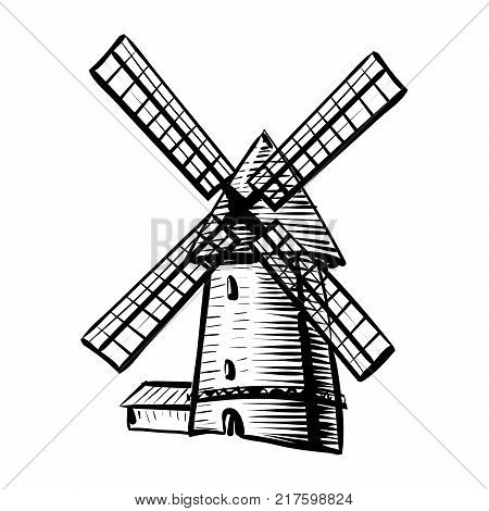 Windmill isolated on white background hand drawn sketch style illustration. Windmill vector monochrome outline image