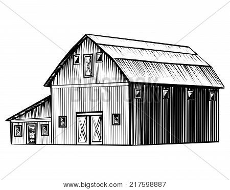 Farm barn isolated on white background hand drawn sketch style illustration. Wood barn vector monochrome outline image