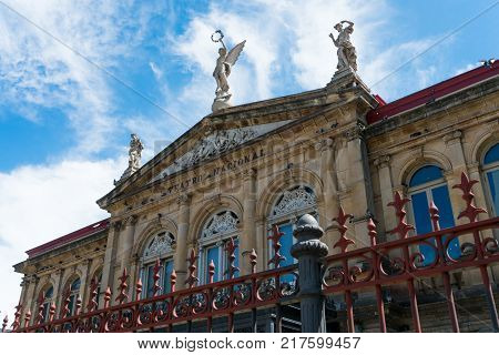 View Of The Gable Roof Of National Theater In Costa Rica Downtown Square With Angle, Beautiful Blue
