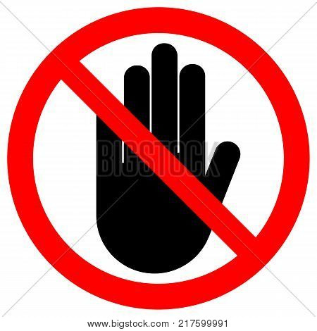 STOP HAND sign. NO ENTRY gesture in red circle. Isolated icon.