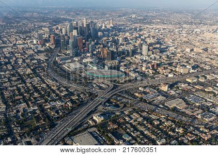 Los Angeles, California, USA - August 7, 2017:  Aerial view of the Santa Monica 10 and Harbor 110 freeway interchange near the Convention Center in downtown LA.