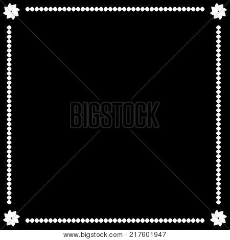 Frame white. Border from ovals and flowers. Decoration banner rim. Monochrome framework isolated on black background. Decoration concept. Modern art scoreboard. Stock vector illustration