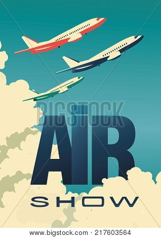 vector illustration Air show airplanes flying in clouds Vintage flyer airplane.