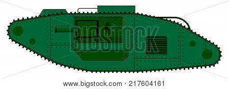 An early World War One tank over a white background