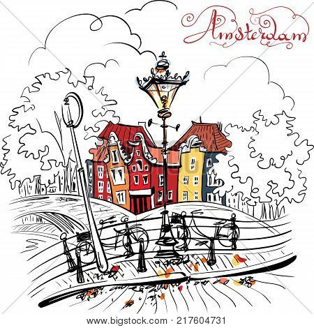 Color hand drawing, city view of Amsterdam typical houses, bridges and streetlight, Holland, Netherlands.