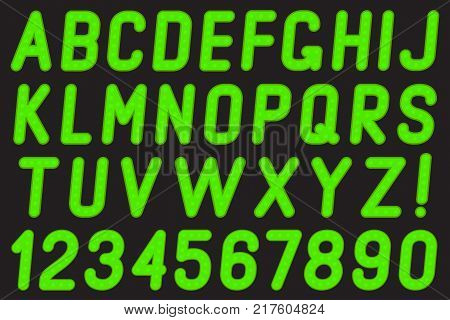 Set of letters and numbers of the lamps on a black background.
