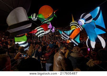 Lyon, France, December 8, 2017 : Festival Of The Lights In Lyon. For 4 Nights, Different Artists Lig