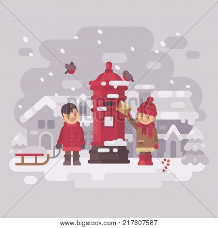 Two cute little children sending a letter to Santa Claus. Smiling boy with sled girl putting envelop into old vintage red postbox in a snowy winter village. Christmas greeting card flat illustration